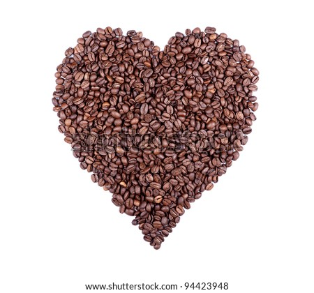 Heart symbol composed of roasted coffee beans. Ideal for REAL coffee lovers