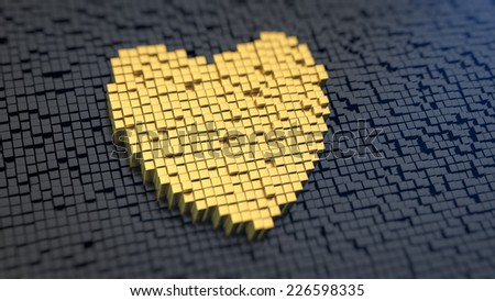 Heart symbol of the yellow square pixels on a black matrix background - stock photo