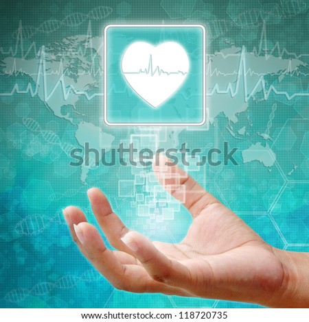 Heart Symbol on hand, medical background - stock photo