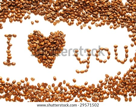 heart symbol with coffee beans