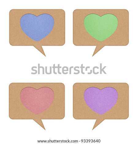 Heart tag recycled paper on white background - stock photo