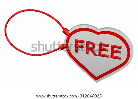 Heart tag with word Free, isolated on white background. 3D render.