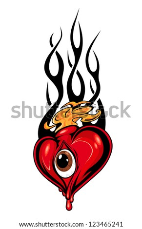 Heart tattoo or mascot with eye and tribal flames isolated on white. Vector version also available in gallery