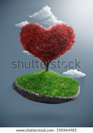 Heart tree born to the suspended rock - stock photo