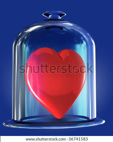 """heart under glass bell, medical concept """"protection heart"""" - stock photo"""