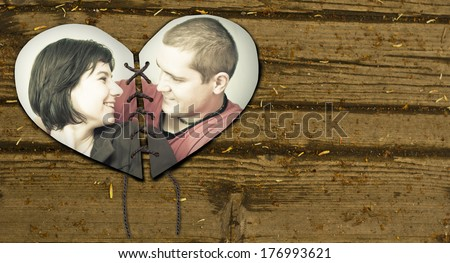 heart united from twou parts - stock photo
