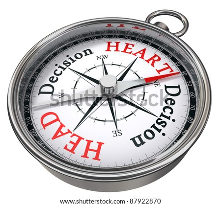 heart versus head decision indicated by concept compass on white background metaphor for logic versus feeling - stock photo