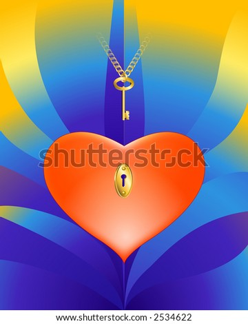 Heart With a Key 3-d illustration. Designed for Valentine's Day.