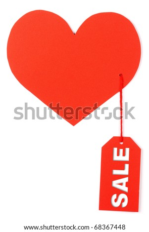 Heart with a tag sale on a white background - stock photo