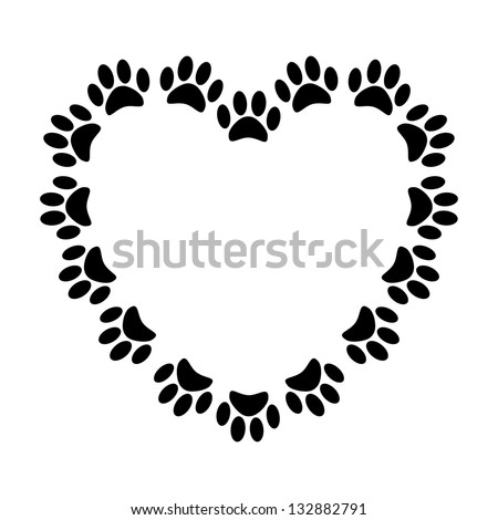 Heart with animal's footprints - stock photo