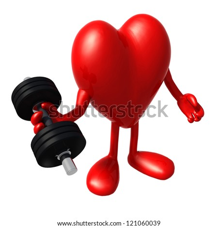 heart with arms and legs does weight training, 3d illustration - stock photo