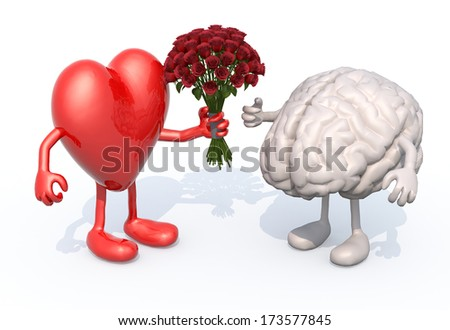heart with arms and legs, hands her a bouquet of roses to a brain - stock photo