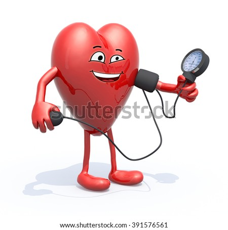 heart with arms and legs measuring blood pressure, isolated 3d illustration - stock photo