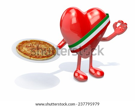 heart with arms, legs and dish of pizza on hand, 3d illustration - stock photo