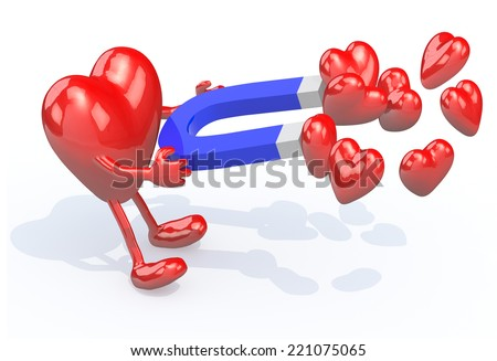 heart with arms, legs and magnet on hands, 3d illustration  - stock photo