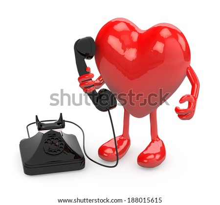 heart with arms, legs and old phone on hand, 3d illustration - stock photo