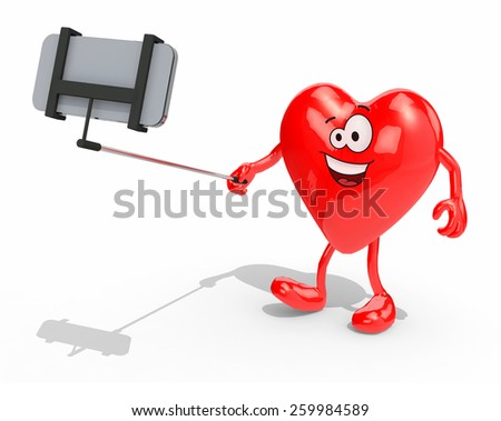 heart with arms, legs and selfie stick take a self portrait with her smart phone, 3d illustration - stock photo