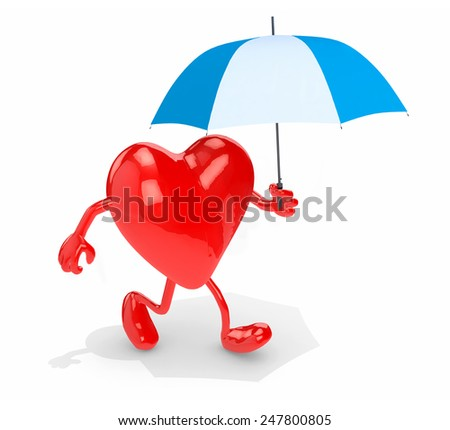 heart with arms, legs and umbrella on hand, 3d illustration - stock photo