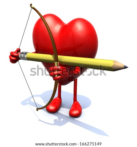 heart with arms, legs, bow and pencil instead arrow, 3d illiustration