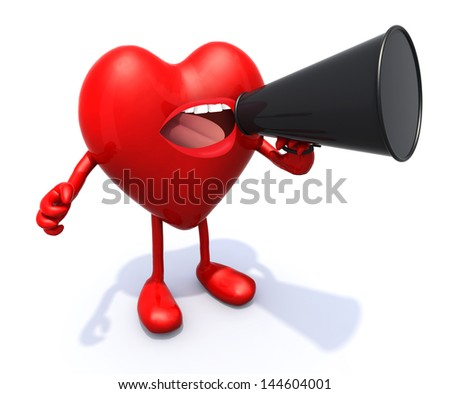 heart with arms, legs, mouth that shout into loudhailer, 3d illustration. - stock photo
