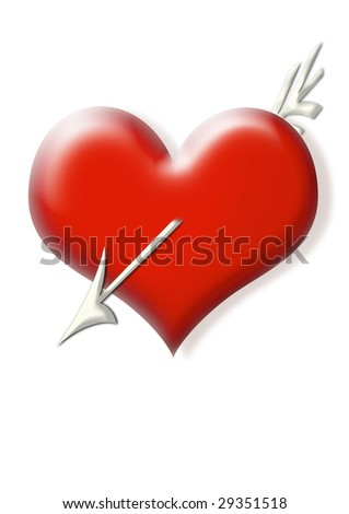 Heart with arrow - stock photo