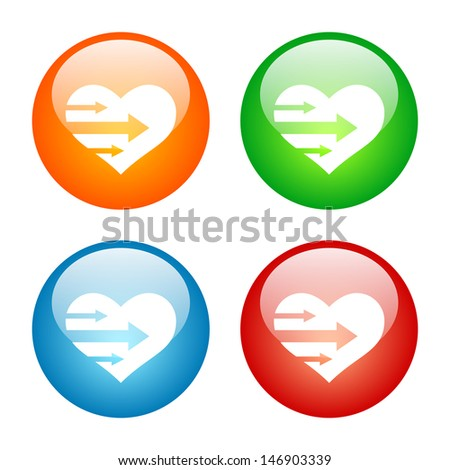 Heart with Arrows Icon Colorful Glass Icon Set. Raster version, vector also available. - stock photo