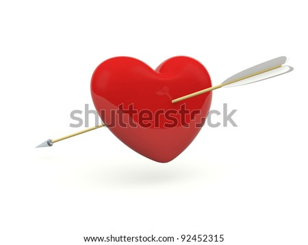 Heart with arrows isolated on white - stock photo