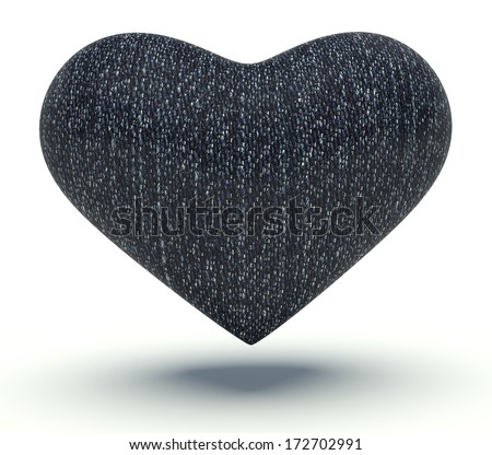 Heart with blue jeans texture. 3d render illustration. - stock photo
