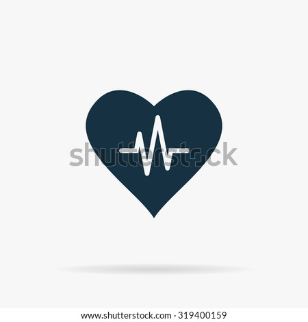 Heart with cardiogram. Flat web icon or sign on grey background with shadow. Collection modern trend concept design style illustration symbol - stock photo