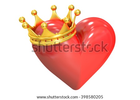 Heart with crown, 3D rendering isolated on white background