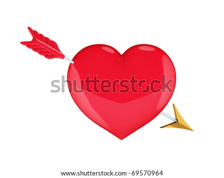 Heart with Cupid's arrow. Isolated on white.3d rendered. - stock photo