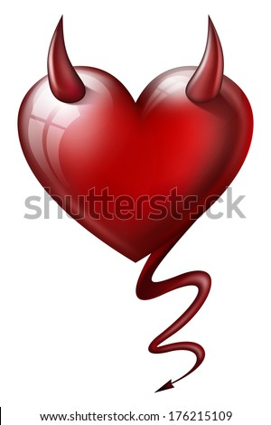 heart with devil attributes isolated on white background  - stock photo