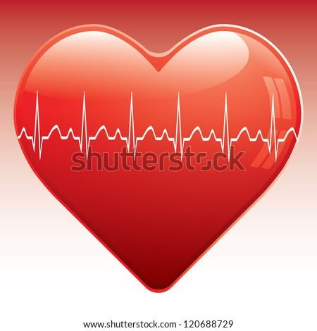 Heart with ekg . - stock photo