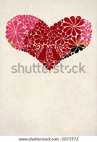 heart with flowers - stock photo