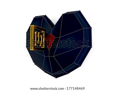 Heart with golden key isolated
