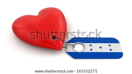 Heart with Honduras flag (clipping path included) - stock photo