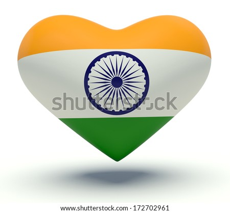 Heart with India flag colors. 3d render illustration.