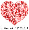 heart with many abstract happy people (flashmob) - stock vector