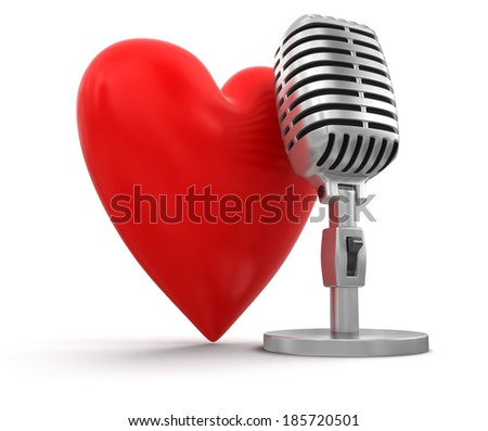 heart with Microphone (clipping path included) - stock photo