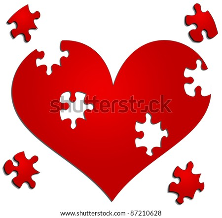 Heart with missing puzzle/jigsaw pieces - stock photo