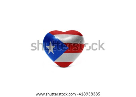 heart with national flag of puerto rico on the white background - stock photo