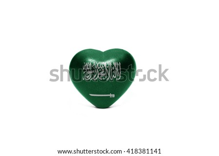 heart with national flag of saudi arabia on the white background - stock photo