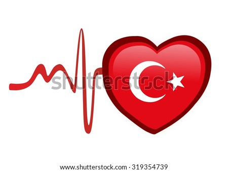 heart with national flag of Turkey - stock photo