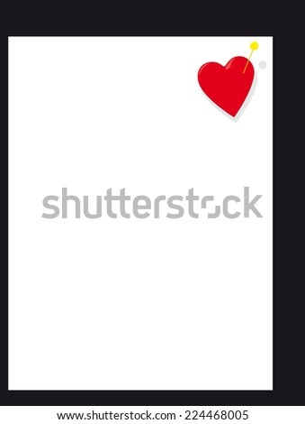 Heart with pin on page - stock photo