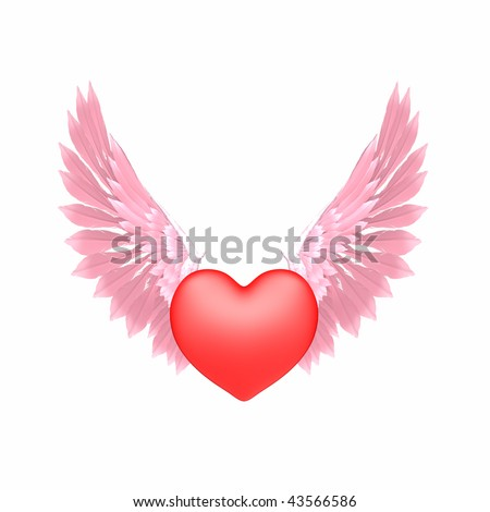 Heart with pink angel wings.  Isolated. - stock photo