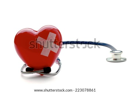 Heart With Plaster, Isolated On White Background