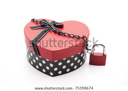 Heart with safety lock and chain