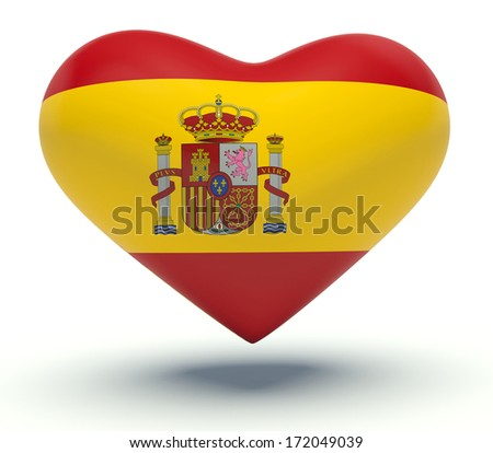 Heart with Spanish flag colors. 3d render illustration. - stock photo