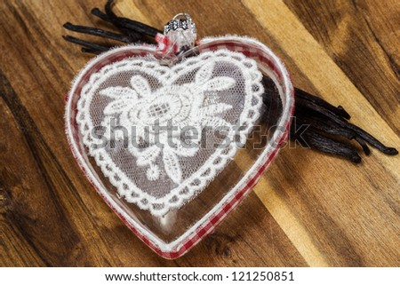 Heart with tablecloth texture - stock photo