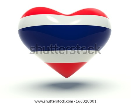 Heart with Thailand flag colors. 3d render illustration.